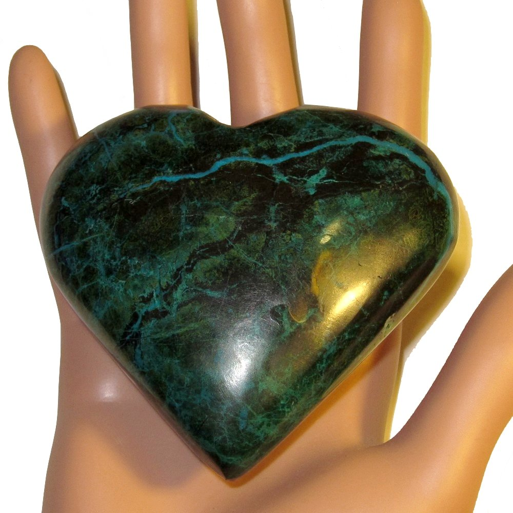 Chrysocolla Heart 05 Big Plump Natural Peruvian Turquoise Crystal True Love Anniversary Valentines 3.2'' by SatinCrystals (Image #6)