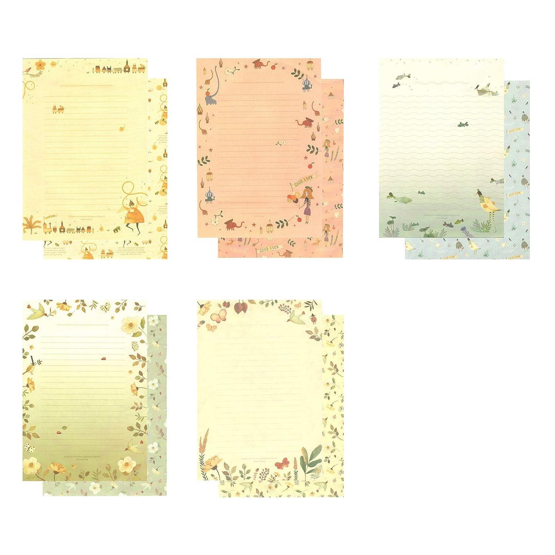 5 diversi motivi graziosi motivi floreali W-BOXINS 36 fogli di carta da cancelleria a righe con 18 adesivi per buste e buste