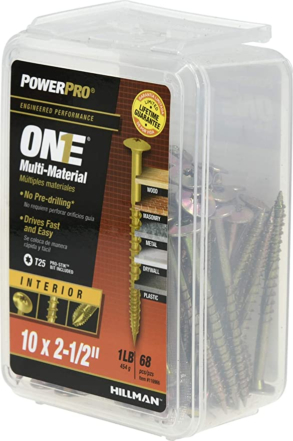 Amazon.com: Power Pro 116966 Multi-Material Screws, Yellow, 68 Piece: Home Improvement