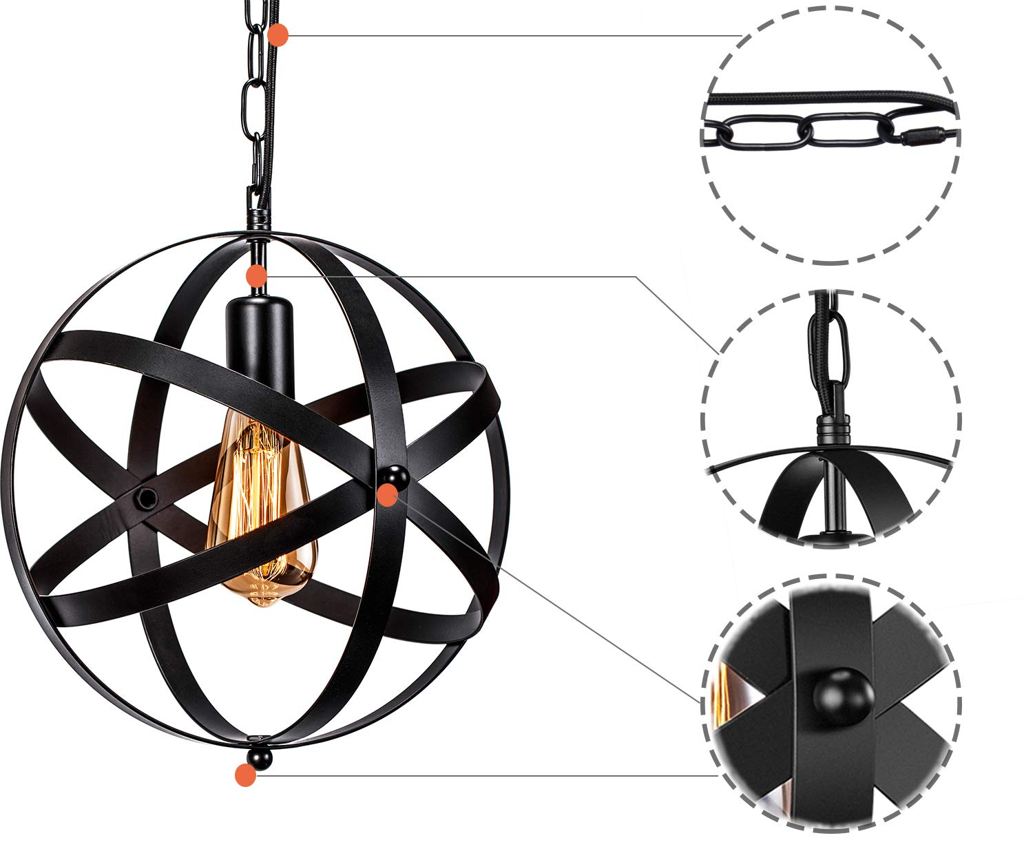 Industrial Plug in Pendant Light INNOCCY E26 E27 Industrial Hanging Light Metal Globe Vintage Pendant Light Fixture with 14.8Ft Hanging Cord and ON/OFF Switch 2 Pack by INNOCCY (Image #2)