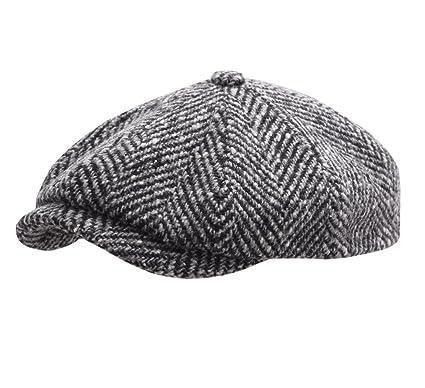 Stetson Hatteras Herringbone Newsboy Cap Size 55 cm Black-white-333