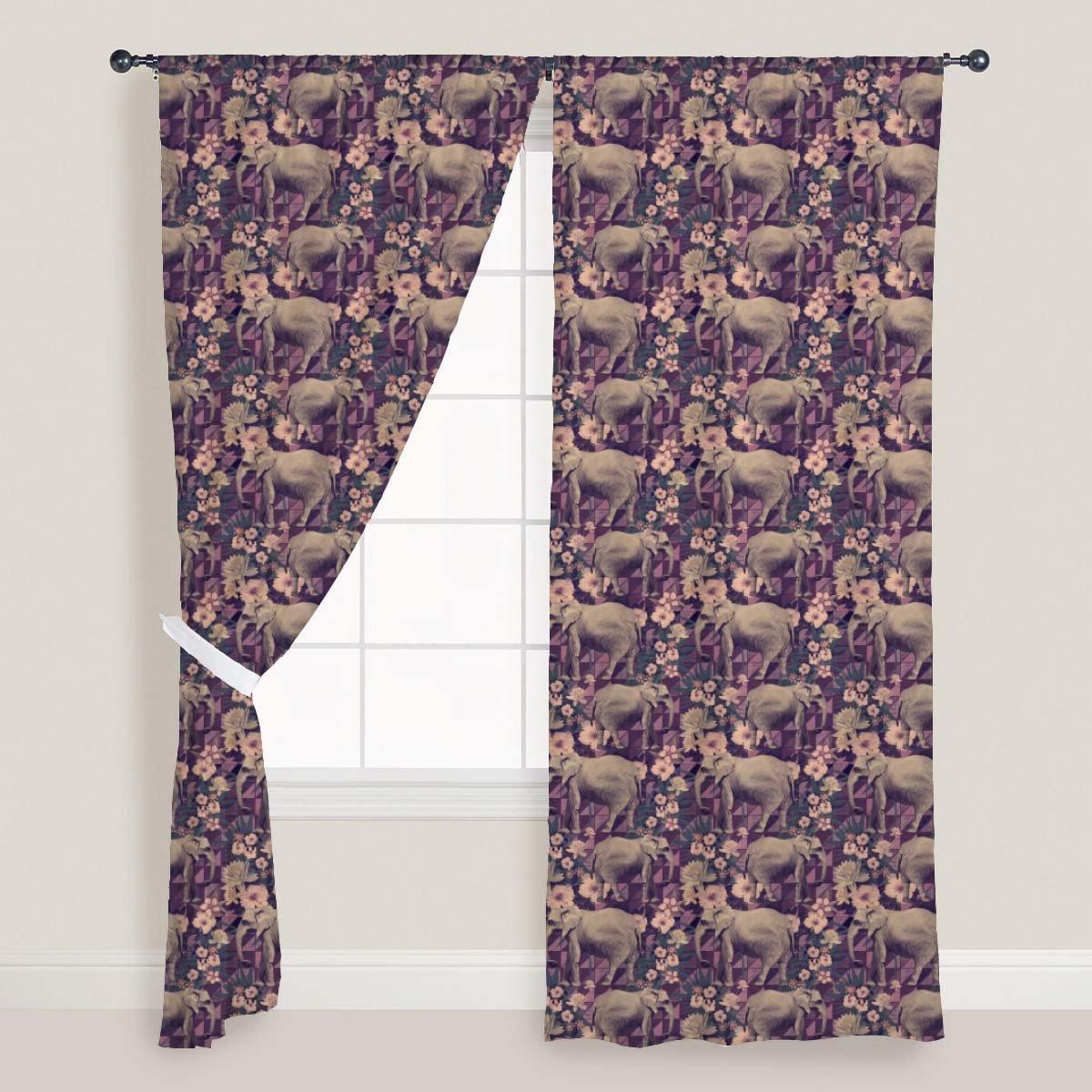 ArtzFolio AZ Indian Elephants Door  Window Curtain Satin 4feet x 7feet; Set of 3 PCS