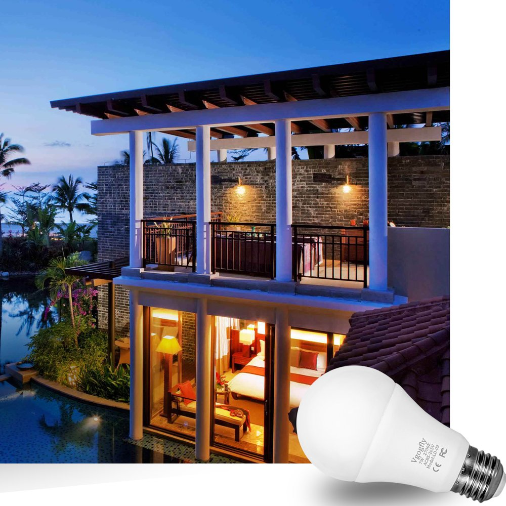 Dusk to Dawn Light Bulb Sensor Smart LED Outdoor Lighting Bulbs Lamp 7W E26/E27 Automatic On/Off, Indoor/Outdoor Yard Porch Patio Garden (Warm White, 3 Pack) by Vgogfly (Image #7)