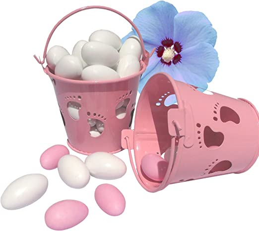 EinsSein 1x Caja de Regalo boda Cubo pequeño Pies 5,5x6,2cm rosa ...