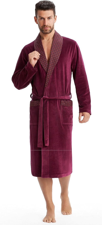 Albornoz Leverie para hombre para la sauna con solapa de cuello y cintur/ón elegante y suave