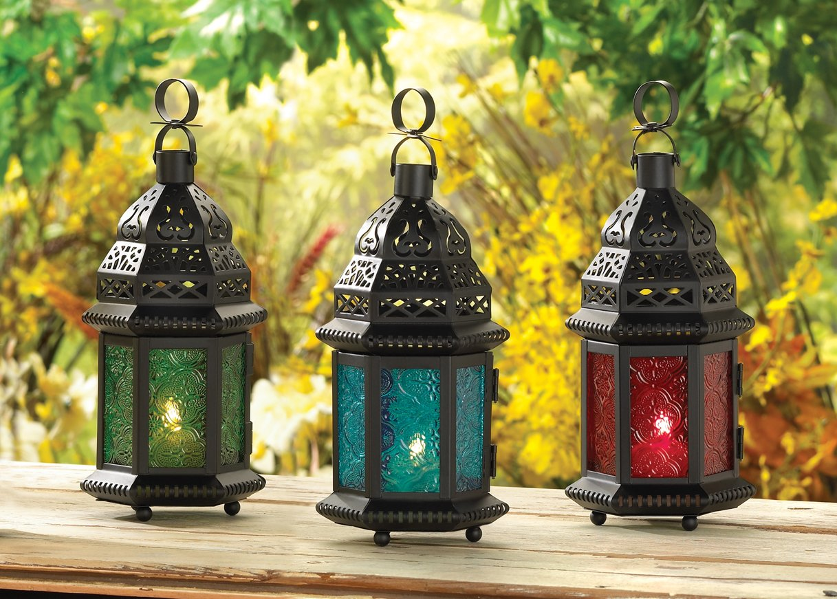 Gifts & Decor Green Glass Moroccan Candle Holder Hanging Lantern by Gifts & Decor