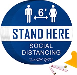 Social Distance Floor Stickers Decals - 15PK Keep 6 Feet Distance Social Distancing Floor Stickers - Wait Here Signs Stickers Markers, for Crowd Control Guidance, Pharmacy, Bank, Lab, Checkout ( Blue)
