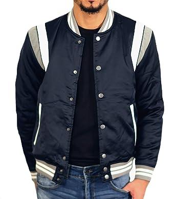 21f626e29ed6c7 Jordan Craig Geneva Satin Varsity Jacket Navy at Amazon Men s Clothing  store