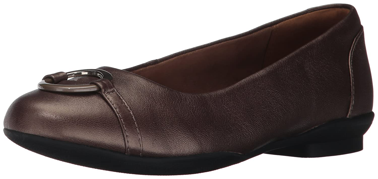 Pewter Leather Clarks Womens Neenah Vine Ballet Flats