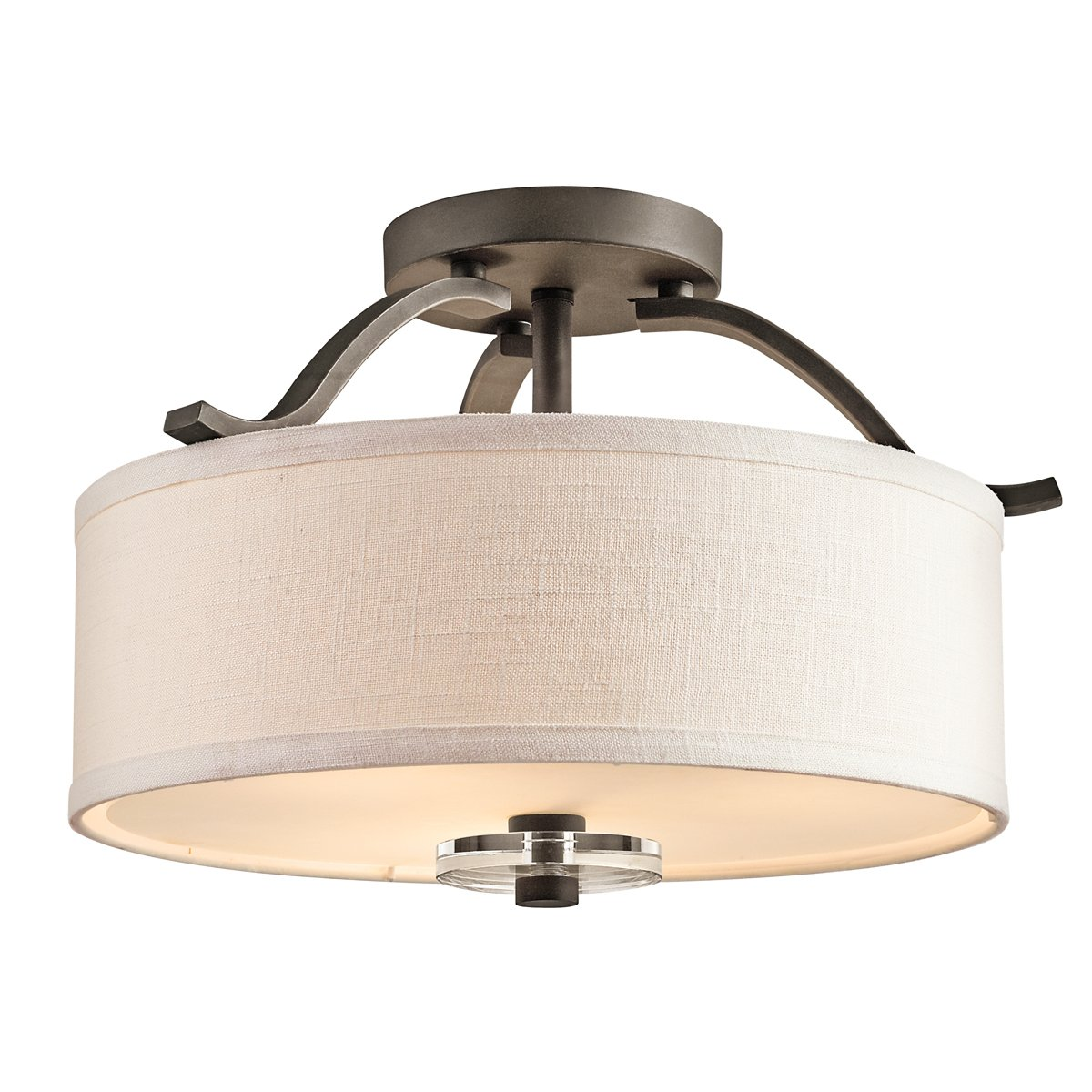 kichler lighting 42485oz leighton 3light semiflush ceiling light olde bronze and white fabric shades with satinetched glass semi flush mount ceiling - Semi Flush Mount Lighting