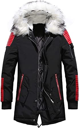 Frieed Men Hooded Zip-Up Winter Casual Thicken Quilted Padded Velvet Pockets Middle Length Down Jacket