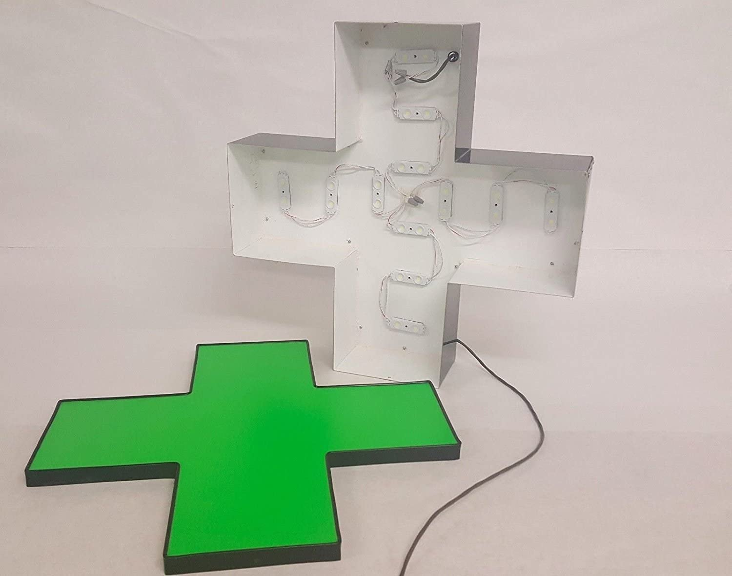 12 Inches Weather Resistant Outdoor//Indoor Standard Channel Letter LED Lit Green Medical Cross Installation Template and Power Supply Included. Storefront Sign