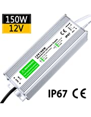 LED Driver 150W 12.5A Waterproof IP67 Power Supply 12V DC Transformer thinner and Durable Low Voltage Power Supply for LED Strip Lights LED Module and Power Accessories 5 Year Warranty