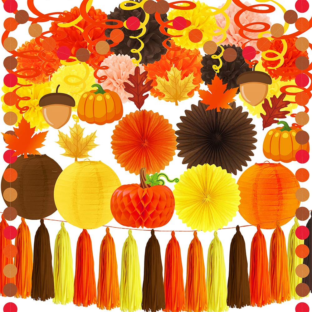 SUPLA 33 Pack Fall Thanksgiving Party Decorations Set - Fall Hanging Maple Leave Pumpkins Swirl Paper Pom Poms Paper Fans Paper Lanterns Tassel Garland Honeycomb Pumpkins Circle Dots Paper Garland by SUPLA