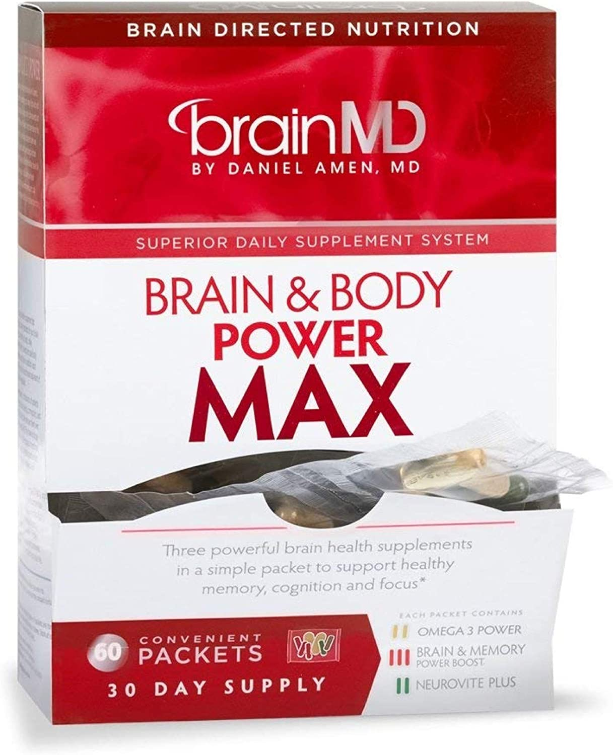 Dr. Amen brainMD Brain Body Power Max – 420 Capsules – Complete Wellness Support Supplement, Promotes Recall Retention, Focus, Emotional Balance Positive Mood – 30 Day Supply