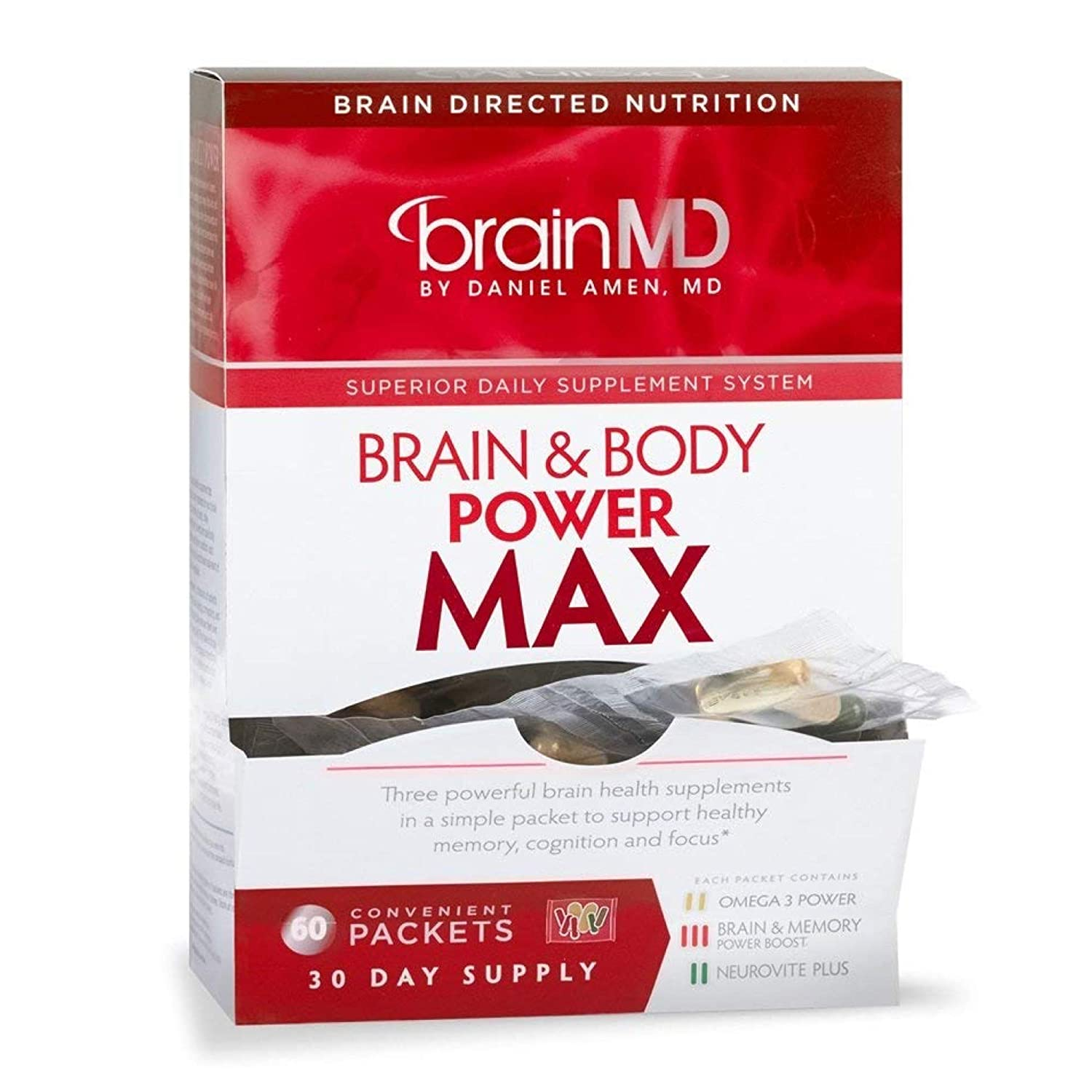 Dr. Amen brainMD Brain & Body Power Max - 420 Capsules - Complete Wellness Support Supplement, Promotes Recall & Retention, Focus, Emotional Balance & Positive Mood - 30 Day Supply