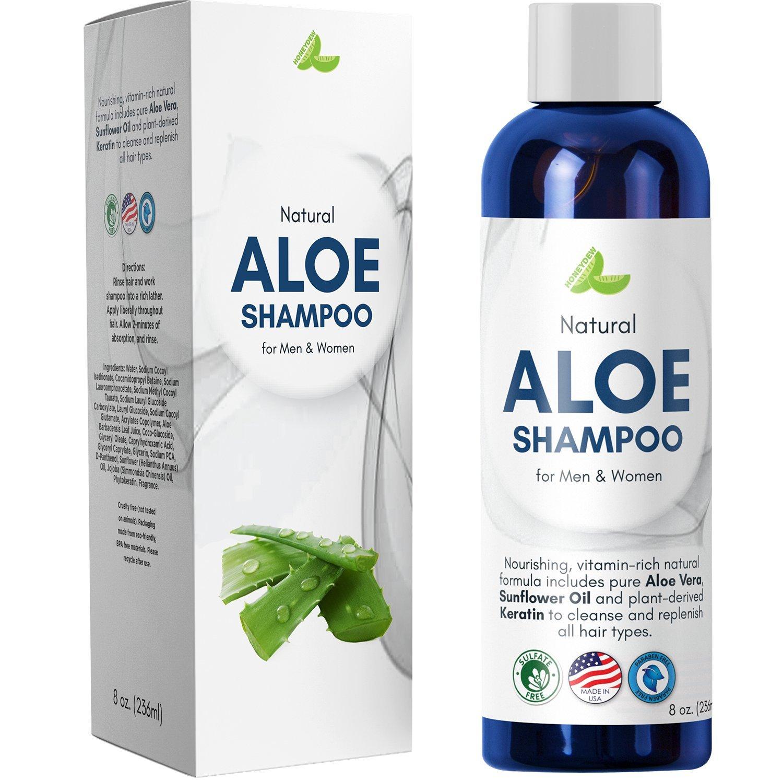 Aloe Vera Shampoo with Sunflower & Keratin – Natural Hydrating Shampoo for Soft & Shiny Hair – Sulfate Free for Color Treated Hair - Men & Women (8oz)