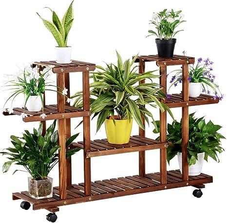 Yaheetech Estantería para Plantas Soporte Madera de Macetas Estante Escalera con Ruedas Soporte Decorativo para Jardín