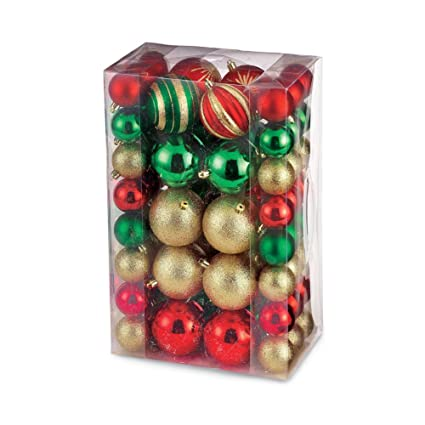 Multicolored Shatterproof Christmas Ornaments Set, 68 PC, Plastic - Amazon.com: Multicolored Shatterproof Christmas Ornaments Set, 68 PC