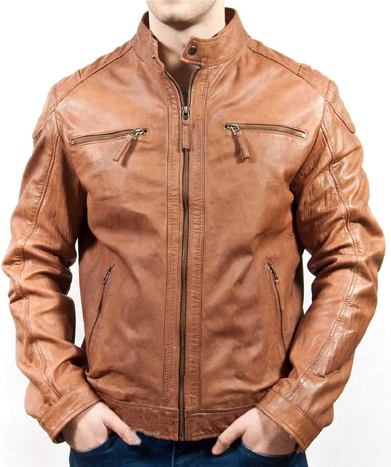 brandMe Mens Genuine Leather Pure Lambskin Biker Jacket MM003