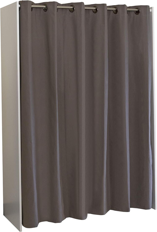 Armario 123//160 x 50 x 182/cm blanco con cortina gris topo largo x ancho x alto Marca  -/Movian Arga