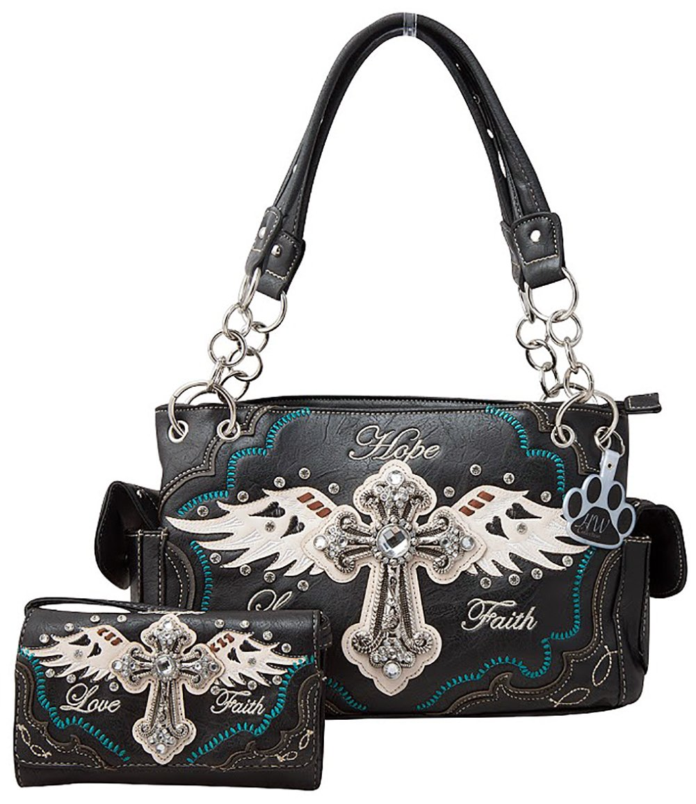 HW Collection Western Rhinestone Cross Angel Wings Faith Hope Love Purse Concealed Carry Handbag and Wallet Set (Black)