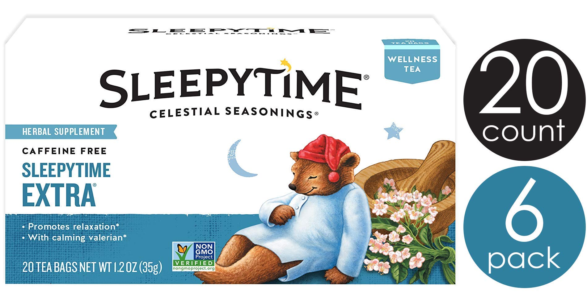 Celestial Seasonings Wellness Tea, Sleepytime Extra, 20 Count Box (Pack of 6) by Celestial Seasonings