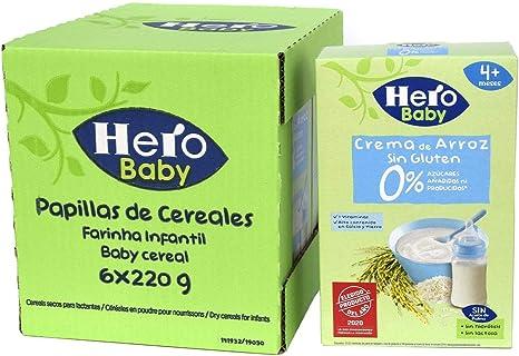 Hero Baby - Papilla de Crema de Arroz sin Gluten y sin Azúcares Añadidos, para Bebés a Partir de los 4 Meses - Pack de 6 x 220 g: Amazon.es: Alimentación y bebidas
