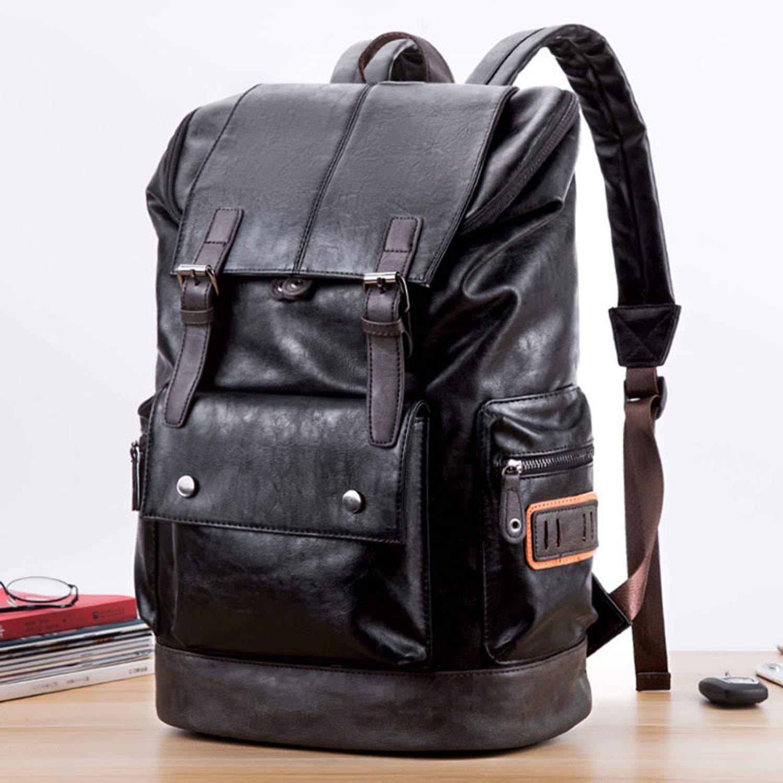 Men's Camping Bag Quality Lleather Big Capacity Backpack College Bookbag Laptop Bagpacks for Man Black by Rswsp