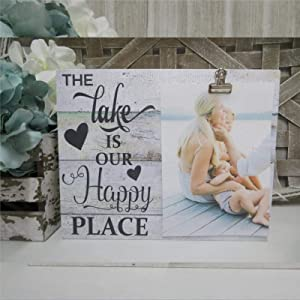 DONL9BAUER The Lake is Our Happy Place Wood Sign,Family Lake House Lake Vacation Photo Wood Wall Decor Sign, Wooden Plaque Art for Home,Office,Gardens, Coffee Shop,Porch, Gallery Wall.