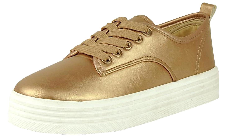 Refresh Footwear Women's Casual Platform Creeper Fashion Sneaker B073VQN722 7 B(M) US|Rose Gold