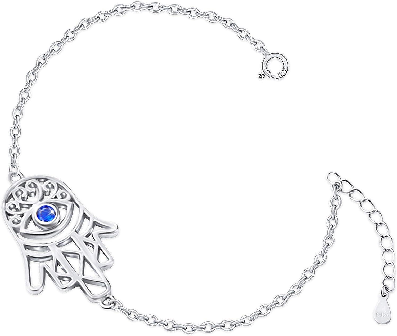 Clever Schmuck - Pulsera de plata para mujer con mano de Fátima, 19 cm, con piedra de ojo azul oscuro y muchas circonitas blancas brillantes, plata de ley 925, en caja de regalo plegable