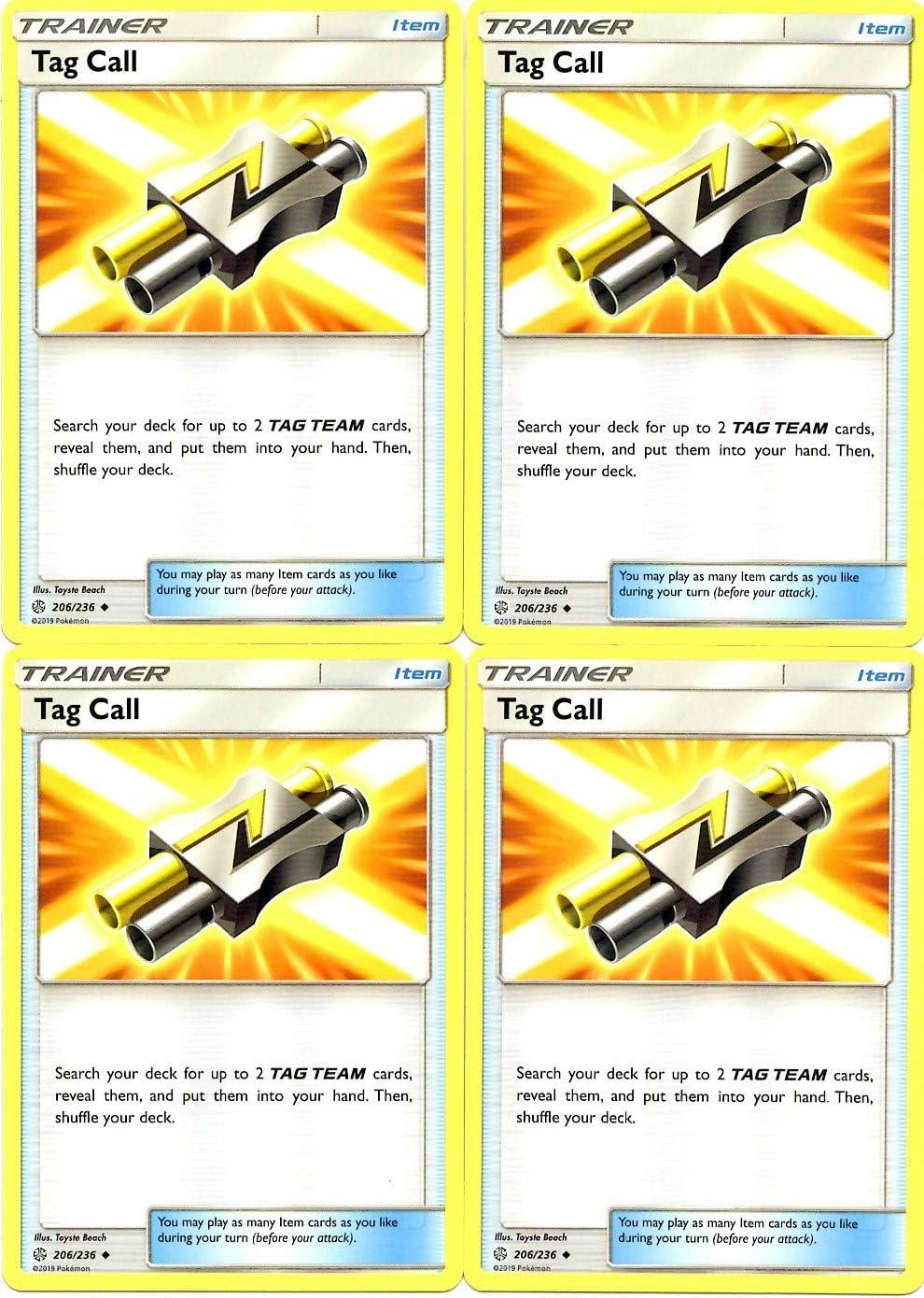 Pokemon Trainer Set Sun Moon Cosmic Eclipse 4 Item Card... Tag Call 206//236