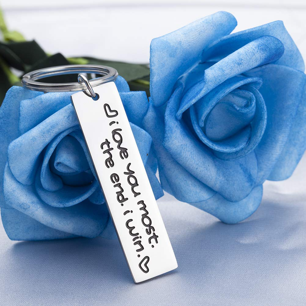 Couple Keychain Gifts for Husband Wife Boyfriend Girlfriend Key Tags for Valentine Birthday Anniversary Wedding Day Gifts Engraved I Love You Most The End I Win Jewelry Gifts for Her Him