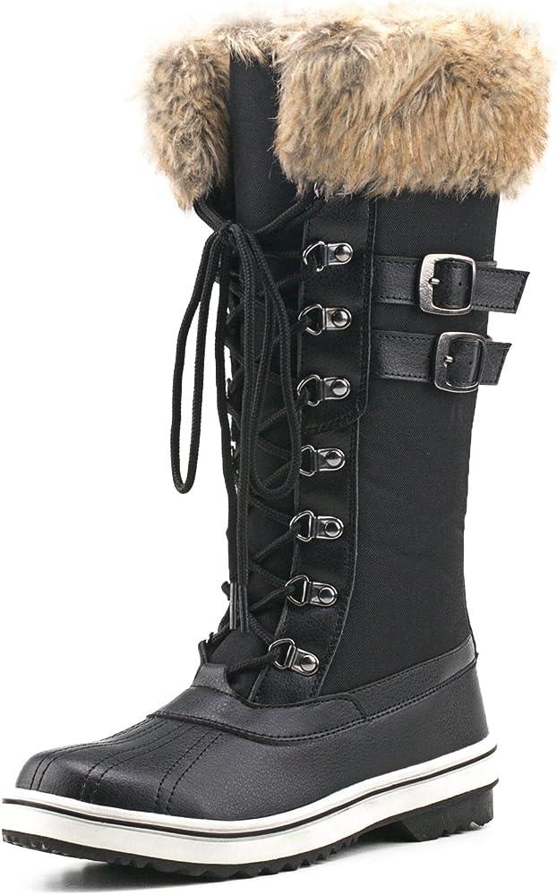 Mid-Calf Nylon Fabric Snow Boots