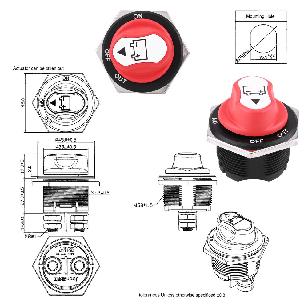 200A Battery Switch Motorcycle Truck Max 32V DC 200A CONT 300A INT On//Off Waterproof Car Battery Isolator Switch Master Cut Off Kill Switch for Cars Offroad Vehicle Boat