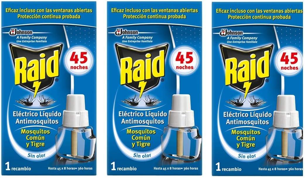 Raid - Recambio para difusor eléctrico anti mosquitos comunes y tigre, 3 x 45 noches (Pack 3 recambios, 135 noches) )