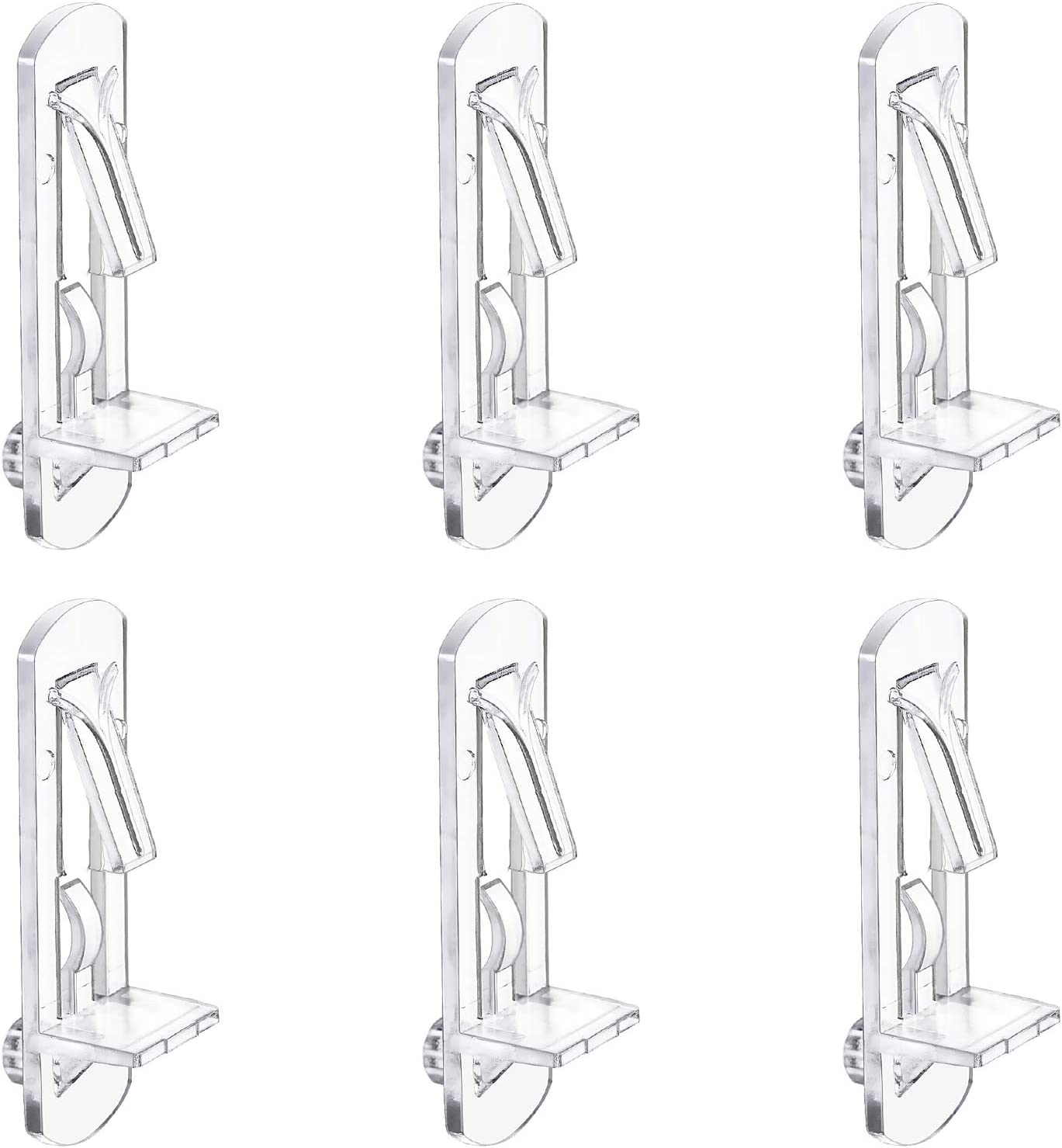7.9 mm Clear Plastic Shelves Bracket Self-Locking Cabinet Pin for Kitchen Slelves Holder 50 Pack with Packing Box Shelf Support Pegs