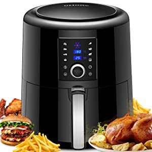 OMORC Air Fryer XL, 5.8QT Air fryer (Recipe Guide Included) Electric Oven Oilless Cooker with Convenient Knob & Touch Screen, Nonstick Basket, 7 Cooking Presets, Preheat for Fast Healthier Fry Food
