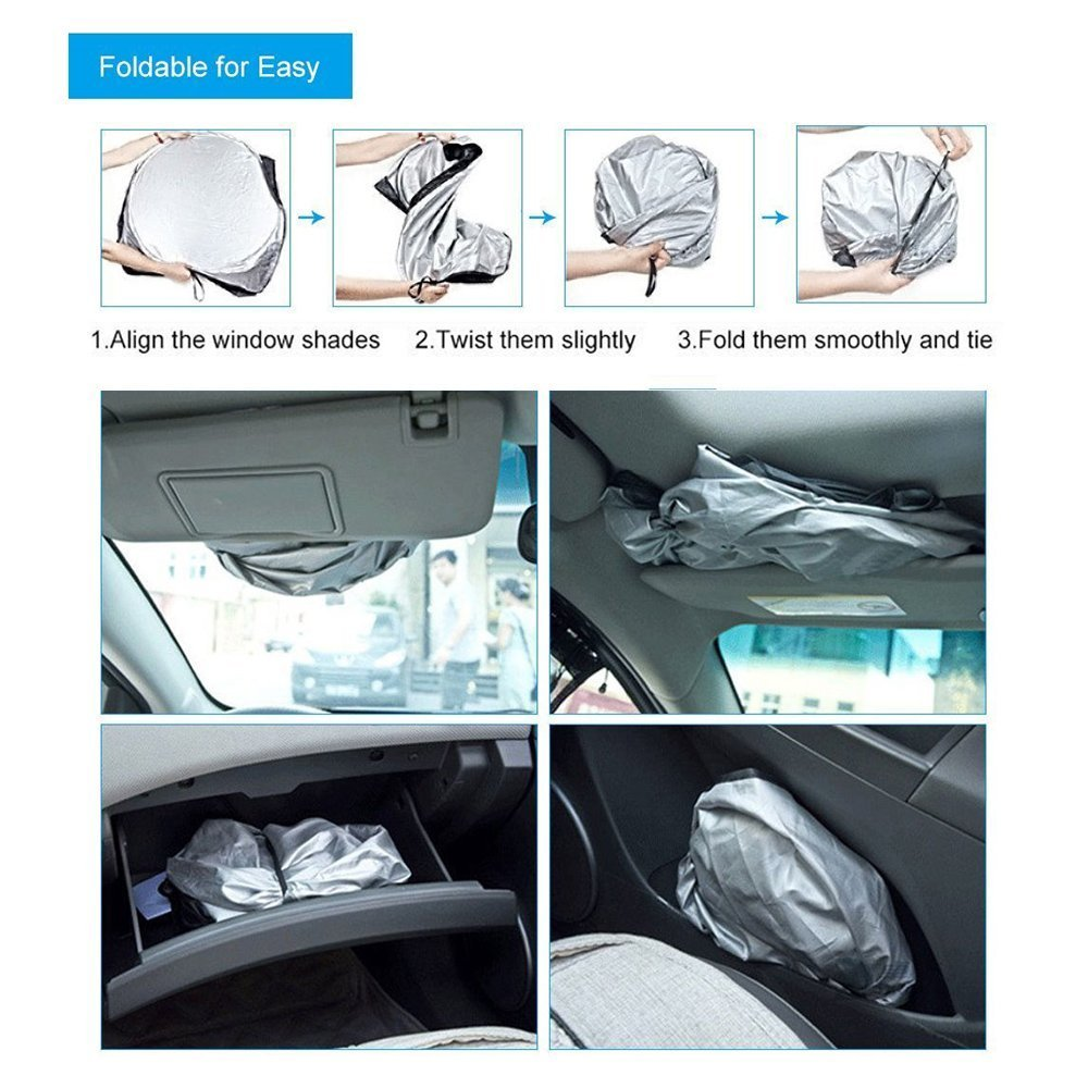All Weather Auto Front Windscreen Covers for Most Car,SUV 57 x 43.7 ,Car Frost Guard Sun Shade with Reflective Mirror Protector Likorlove Car Windshield Cover for Snow and Ice