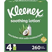 Kleenex Soothing Lotion Facial Tissues with Coconut Oil, Aloe & Vitamin E, 4 Cube Boxes, 65 Tissues Per Box (260 Total…