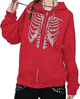 Vrouwen Y2k Skelet Strass Print Trekkoord Hooded Pullover Sweatshirt Causale Lange Mouw Hooded Jacket 90 S Vintage Rits Hoodie Jas