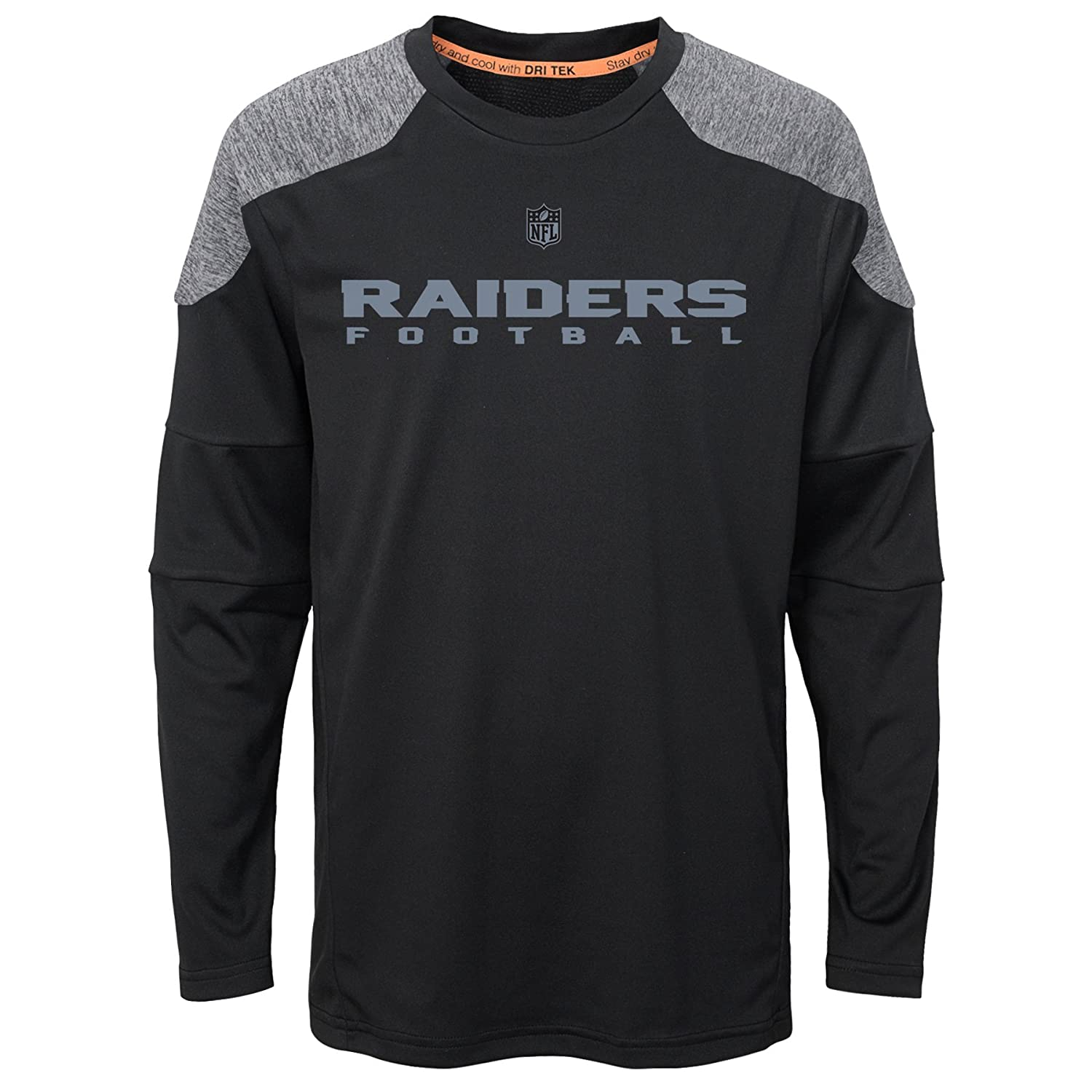 Oakland Raiders NFL Boys 4-7 Gamma Long Sleeve Performance Tee-Black-M 5-6