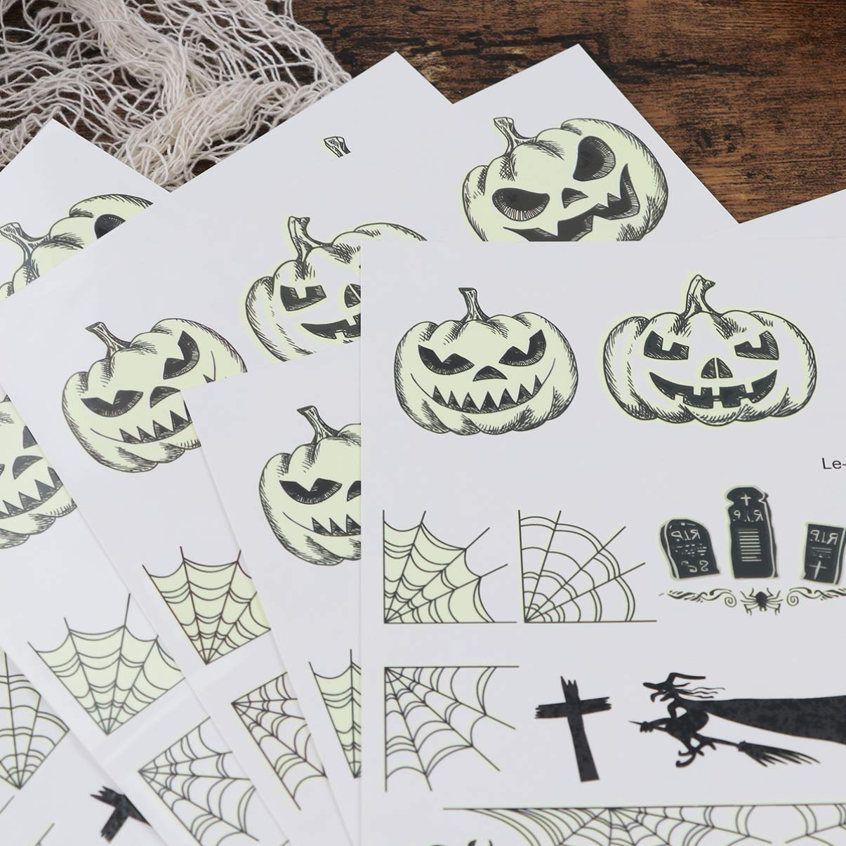 Halloween Autocollants de Tatouage Lumineux /Étanche avec Impression de Citrouille Toile daraign/ée Pierre tombale pour Mascarade Soir/ée /à Th/ème