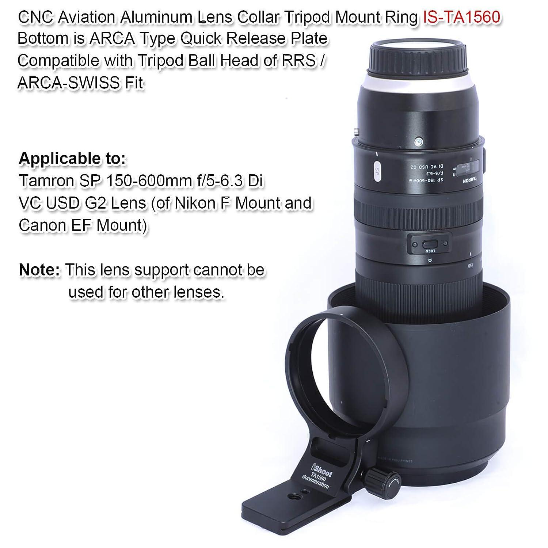 Placa de liberaci/ón r/ápida de 70 mm para Cabeza de tr/ípode Arca-Swiss Anillo de Soporte de tr/ípode para Objetivo Tamron SP 150-600 mm f//5-6.3 Di VC USD G2 Lens A022