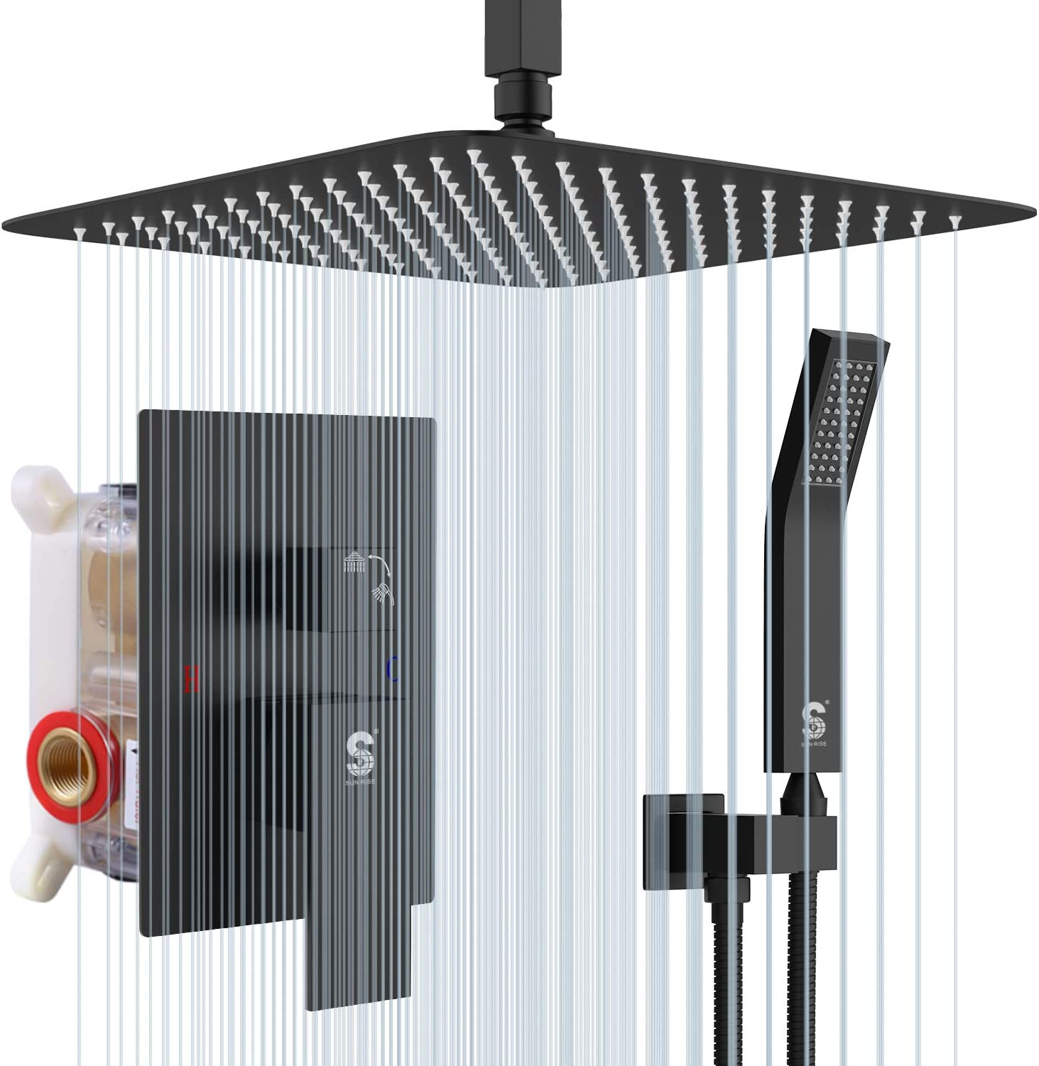 SR SUN RISE 12 Inch Ceiling Mount Matte Black Shower System Bathroom Luxury Rain Mixer Shower Combo Set Ceiling Rainfall Shower Head System (Contain Shower Faucet Rough-in Valve Body and Trim)