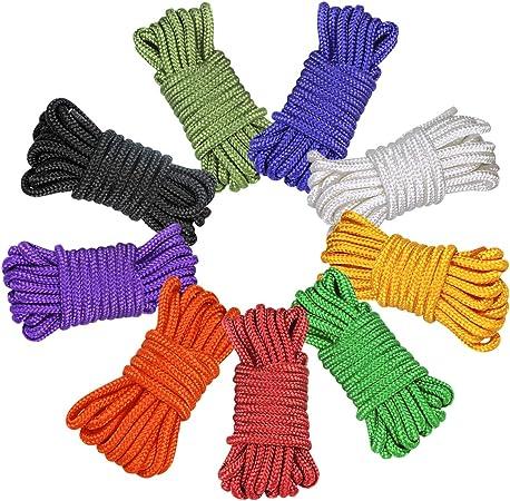 Fodlon Cuerda de paracaídas multifunción, 9 cuerdas de paracaídas de 10 pies para tienda de campaña, cuerda de supervivencia al aire libre, cuerdas de ...