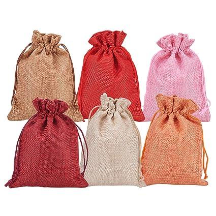 NBEADS 30pcs Bolsas de arpillera Bolsas de Boda Bolsas de Regalo con Doble cordón para Hacer Joyas, Color Mezclado, 18x13 cm