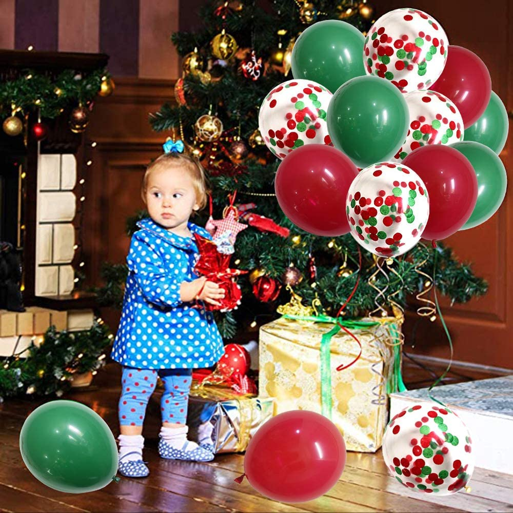 50PCS Merry Christmas Balloons 12 Inch Green Red Latex Balloons Confetti Balloons Party Balloons with Balloon Pump for Christmas Birthday Wedding Decorations