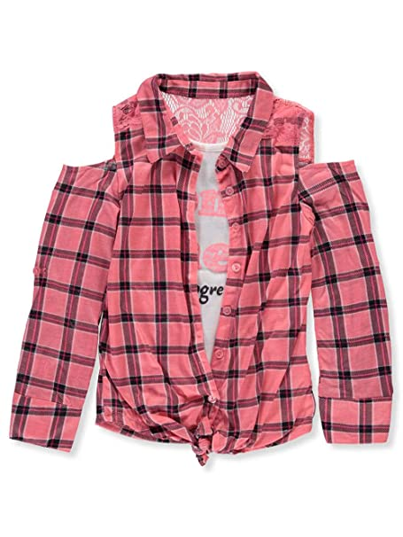 2cc8887b65929 Dream Star Little Girls' Toddler Cold Shoulder Layer Top - Coral/Multi, ...